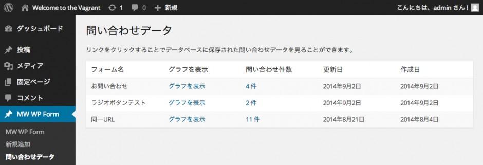 データベースに保存機能を利用しているフォームの一覧